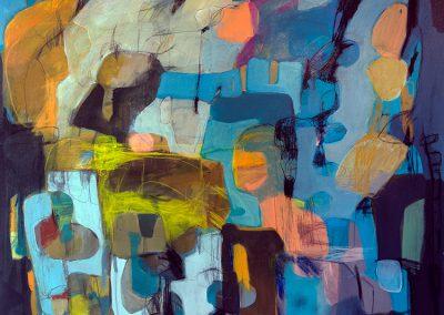 Maleri 120x120 cm Blue Louise Maagaard Design